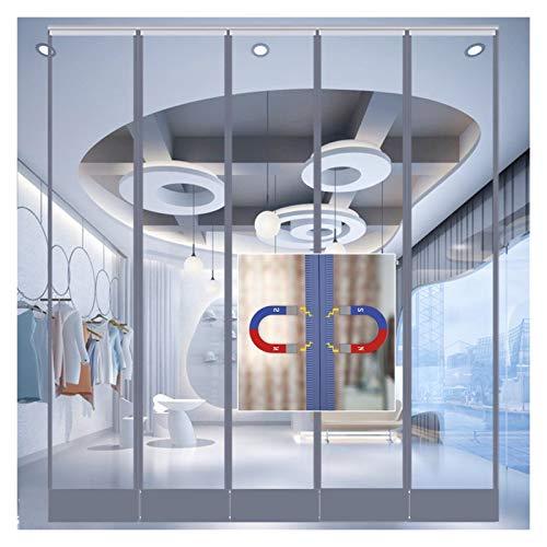 MAHFEI Cortina De Puerta, Transparente Mosquitera Magnética para Puertas Cierre Automático A Prueba De Viento Cortina De Tira De Vinilo Plástico PVC De 1,6 Mm para Centro Comercial