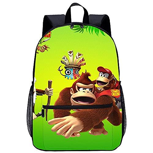 Mochila Infantil con 3D Mochilas Escolares para Niñas y Niños-Regresa Donkey Kong Country-Adecuado para: estudiantes de primaria y secundaria, la mejor opción para viajes al aire libre-Tamaño: 45x30