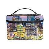 Bolso cosmético portátil del Viaje de Las señoras,Bolso del Maquillaje,Kansas City,Missouri,EE.UU.Centro de la Ciudad en el crepúsculo,Bolsa de Aseo multifunción Que recibe
