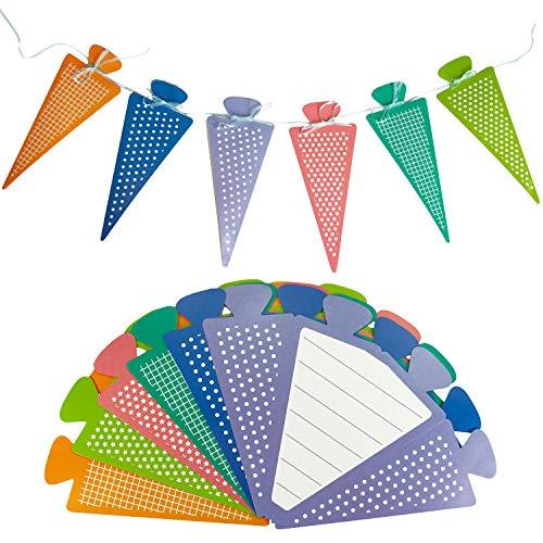 Oblique Unique® 6X Zuckertüte als Einladungskarten oder Girlande für Schuleinführung Schulanfang Einschulung Schulbeginn Einladungen mit beschreibbarer Innenseite