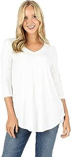 EAG 3/4 Sleeves Shirt V Neck T Shirt Women's Blouse Plus