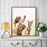 UIOLK Fuerte Animal del Desierto Camello Pared Arte Lienzo Pintura marroquí Boho fotografía Mural para decoración de Sala de Estar