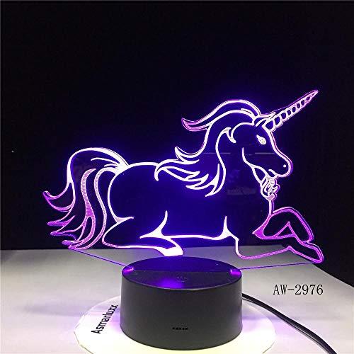 Mooie eenhoorn paard LED eettafel decoratie nachtlampje variabel 7 kleuren