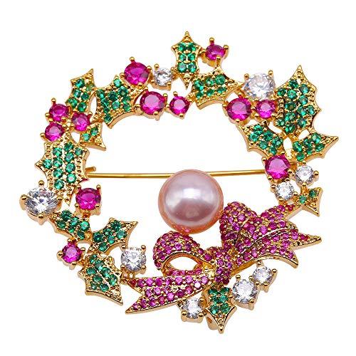 JYX Brosche mit Blumenmuster, 9 mm, violette Perlen, natürliche Süßwasserperle, Brosche für Frauen Weihnachten