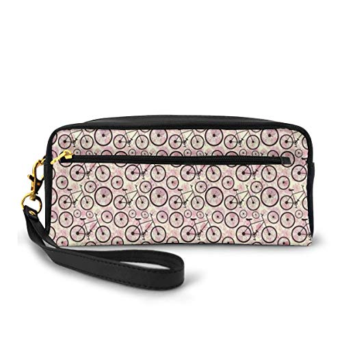 Pencil Case Pen Bag Pouch Stationary,Romantic Doodle Drawing With Pink Blossoms Fun Activity Youth,Small Makeup Bag Coin Purse