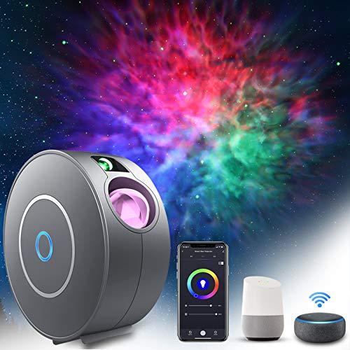 LED Smart Sternenhimmel Projektor, ZOTO RGB Dimming Galaxy Sternenlicht Projektor Lamp, Unterstützt Sprachsteuerung und Timing-Funktion, Kompatibel Alexa Google Assistant, Nachtlicht für Baby, Zuhause