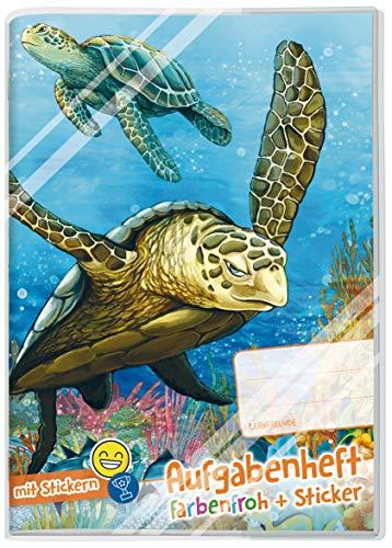 Lernfreunde Aufgabenheft A5 Farbenfroh [Schildkröte] - Hausaufgabenheft Grundschule ohne festes Datum inkl. Schutzumschlag & Sticker!