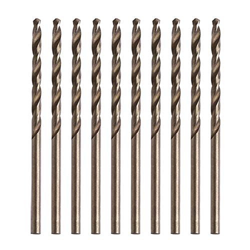 Drill Bit Set Twist Drill Bit Set Industrial Coate 10 Pieces of 1/1.5/2 / 2.5/3 / 3.5/3.5/4 / 4.5/5 Mm M35 Round Shank HSS-Cobalt Cobalt Twist Drill Auger (Hole Diameter : 3.2mm)