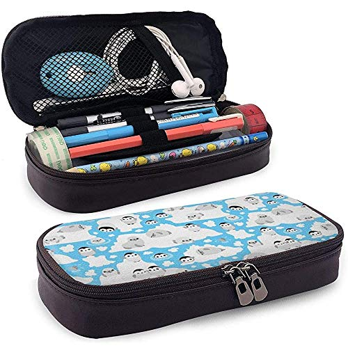 Lederen Potlood Case Leuke Pinguïn Pu Lederen Duurzame Potlood Tas Potlood Case Make-up Pen Pouch Print Studenten briefpapier Dubbele Rits Pen Houder Office School Tieners