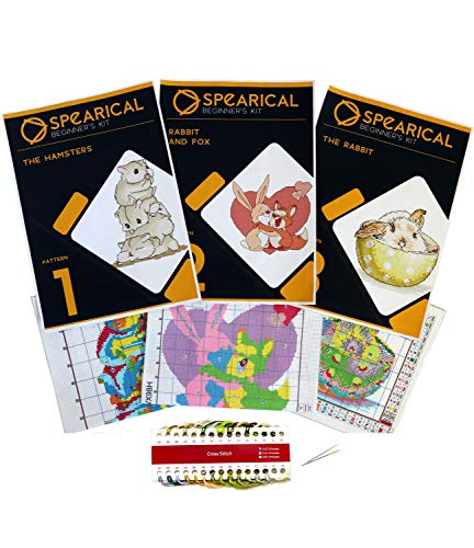 Cross Stitch Stamped Kits Pre-Printed Cross-Stitching Starter Patterns for Beginner Kids or Adults,...