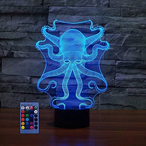3D Pieuvre LED Lampe Art Déco Lampe Lumières LED Décoration Lampes Télécommande Touch Control 7/16 Couleurs Change Veilleuse USB Powered Enfants Cadeau Anniversaire Noël Cadeaux
