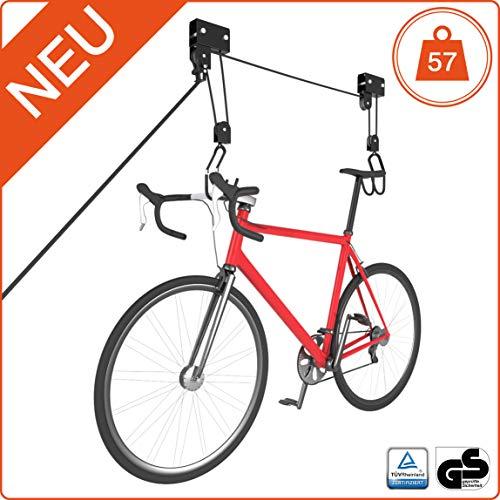 RAWBOND® Universal Deckenlift für bis zu 57 kg - Praktischer Fahrradlift mit Seilzug für deine Garage - Fahrradaufhängung Decke mit Notfallbremsmechanik - inkl. Montagevideo