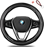 Autsop Steering Wheel Cover, Leather Car Steering Wheel Covers for Women and Man Breathable Anti-Slip Odorless,Universal Fit 15 Inch (Black)