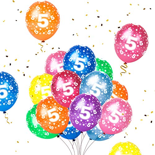 Humairc 16 Luftballon 5. Geburtstag bunte Luftballon mit Zahlen 5 für Kindergeburtstag Deko Jungen Mädchen unterstürtzt Luft Helium