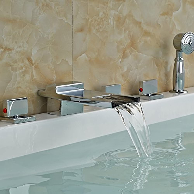 Maifeini  Moderne 5-Pc-Deck Montiert Waterfbath Wanne Waschbecken Wasserhahn Weit Verbreitete Messing Verchromt Ttub Füller Mit Stil 3