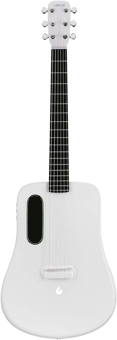 LAVA ME 2 Guitarra de fibra de carbon con efectos Guitarra Acústica Eléctrica de Viaje con bolsa Picks y Cable de carga (FreeBoost, Blanco, 36 Inch)