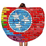 SARA NELL Thick Round 60 Inch Beach Towel Blanket - Brick Wall Tennessee and Gay Flags Beach Picnic Carpet Yoga Mat - Ultra Soft Super Water Absorbent Bath Towel Multi-Purpose Towel