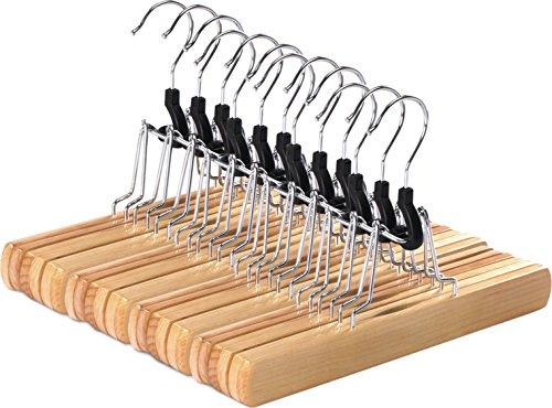 Utopia Home Non-Slip Wooden Hanger  Natural Finish - Slack Hanger  Wood Skirt Hangers  12 Pack