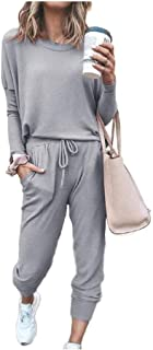 neveraway Women's Solid Color Pullover Top and Sports Pants Outfits 2 Piece Set