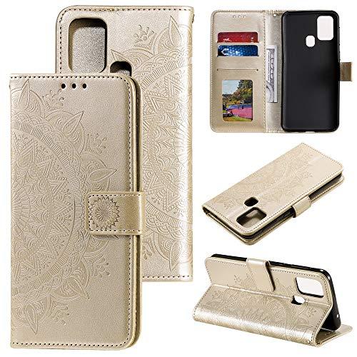 CoverKingz Handyhülle für Samsung Galaxy M21 - Handytasche mit Kartenfach Galaxy M21 Cover - Handy Hülle klappbar Motiv Mandala Gold