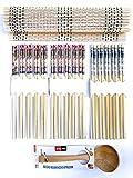 Kit Sushi - Bacchette Di Bambù 24cm (15 Paia Lavabili & Riutilizzabili) + Stuoia Di Bambù 30x45cm + Mestolo Legno Ø6x19cm