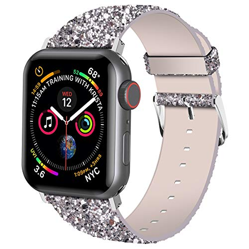 iitee Natale luccicante di Bling di lusso in pelle PU iWatch Band braccialetto orologio da polso cinghia per Apple Watch