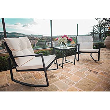 Suncrown Outdoor 3-Piece Rocking Wicker Bistro Set: Black Wicker Furniture - Two Chairs with Glass Coffee Table (Beige-White Cushion)