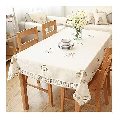HNZXHYC con un diseño de Flores, manteles de Lino Blanco de Encaje Hueco, Banquete de Bodas gabinete de la TV Cubierta de Polvo paño (Color : White, Especificaciones : 110cm X 110cm)
