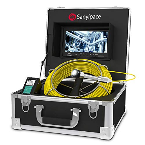 Pipe Inspection Camera 165ft/50m, Sewer Camera 9 inch HD Color Monitor 1000TVL Sony CCD DVR Live Recorder Duct Camera, Pipeline Drain Industrial Endoscope IP68 Waterproof Snake Cam Video System
