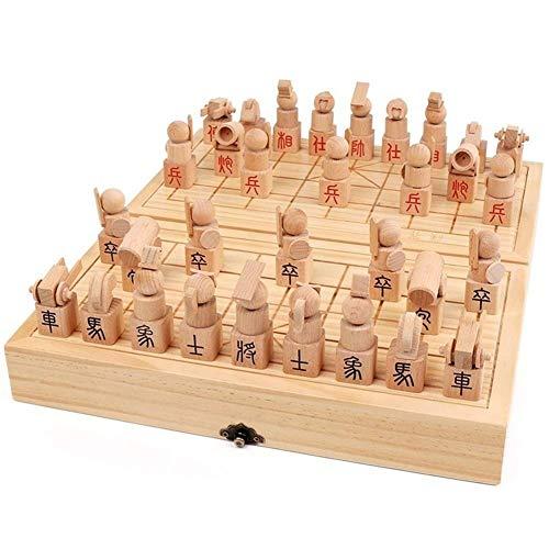 Nologo Xjdmg Juego de ajedrez de Madera de Haya Maciza de Madera Plegable China Junta Creativo Piezas de ajedrez colección de los Amantes Padres e Hijos la Junta Regalo Juego
