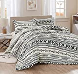 Colby 3-Piece Southwestern Tribal Bedding Set, Ivory Navy Brown Red Printed Microfiber Reversible Oversized Western Comforter Set, Queen Size