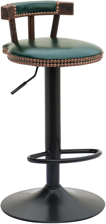 Bar stool,GZD Retro kitchen stools High Stool Round Bar Stools Wood Seat Breakfast Bar, height 60cm 70cm 80cm for Kitchen Counter Bar , 60cm , 2
