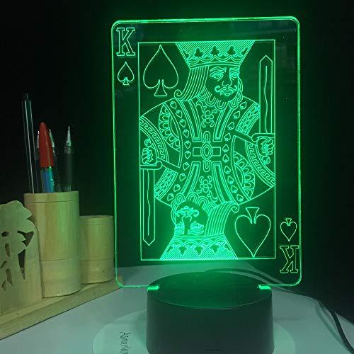 Spade K King Poker Cards Casino Dice V USB Acrilico Lava 3D LED Lampada da tavolo a luce notturna Lampada da comodino Decorazione Regalo per bambini