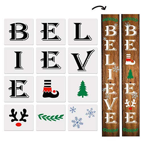 12PCS Reusable Believe Stencils for Painting on Wood- Merry Christmas Believe Porch Sign Stencil for Holiday Décor, Making Your Own Farmhouse Wood Sign
