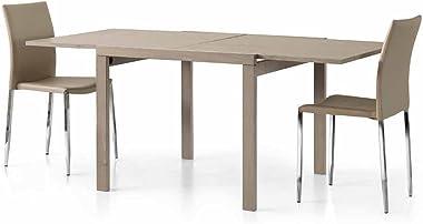 InHouse srls Table Taupe, Style Moderne, en MDF laminé et Structure en Acier - Dim. 90 x 90 x 75