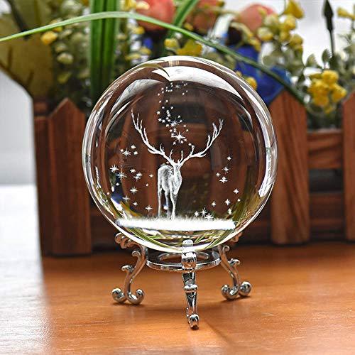 Speedy Panther 3D Elch Kristallkugel mit Ständer K9 Kristallkugel Weihnachten Hirsch Briefbeschwerer Ball für Geburtstag Home Decor (60MM Silber Ständer)