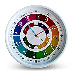 OCEST Telling Time Teaching Clock, Learning Clock for Kids Wall Clock Silent Analog Kids Clock for Teaching Time Kids Learning Clock, Kids Room Wall Decor Learn to Tell Time Easily-12 inch