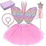 4 Pcs Dress up Clothes for Little Girls Princess dress up Fairy Costume Set with Wings Tutu Wand Necklace and Bracelet for Girls Perfect Novelty Gift for Kids