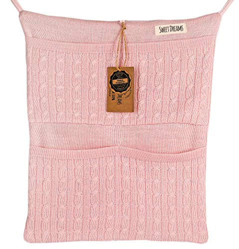 SweetDreams Baumwolle Baby Betttasche für Baby Bett, Utensilio, Wandaufbewahrung, Aufbewahrung fürs Kinderbett (1025) (Rosa)