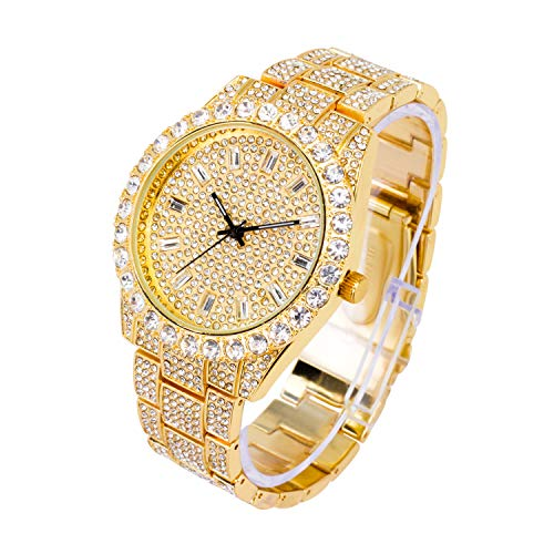 Men's 44mm Gold Tone Iced Out Baguette Watch with Diamond Link Band and Bling-ed Out Dial - Quartz Movement - Adjustable Links for Sizing