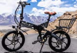 cysum RT-730 Bicicleta eléctrica Plegable 20 Pulgadas Bicicleta eléctrica 48v 8ah batería Oculta (Gris)
