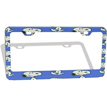 ZWFLAU Snoopy License Plate Frame Sign Tag Car Accessories for Flat Hole//Round Hole