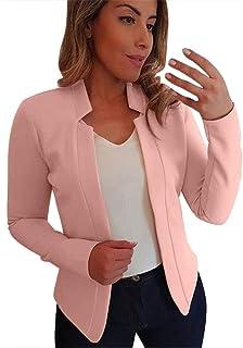 Blazer casual da donna, giacca da ufficio con collo a scialle, a maniche