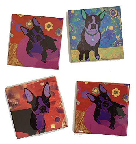 Boston Terrier Tile Coaster Set II, Dog Art Ceramic Tiles Home Decor by Angela Bond