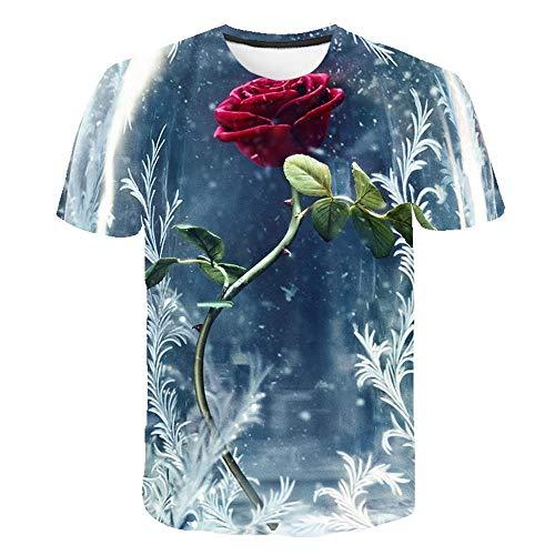 Tulipe Rose Fleur T Shirt Hommes Streetwear Été 3D Imprimer Hommes T Shirt Drôle Hip,Hop Casual O,Neck Tops À Manches Courtes S,6XL,Couleur1 M