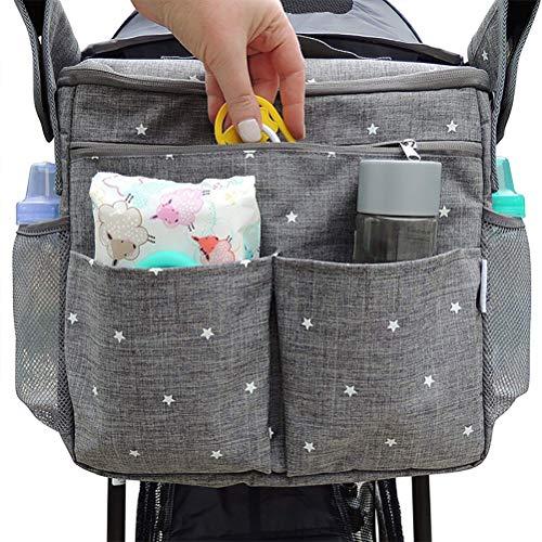Kinderwagen Organizer Bag mit Kinderwagenaufsätzen. Große Kinderwagen Isolierte Babytasche. Geschenk für Neugeborene, Säuglinge, Kleinkinder. 3 Tragemöglichkeiten - Schulter, Umhängetasche, Rucksack.