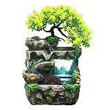 Phrat Zimmerbrunnen Indoor & Outdoor Brunnen Wasserfall Tischbrunnen Dekoration Wasserspiel Mit Farbwechsel Led Beleuchtung Zen Meditation Wasserfall
