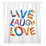KUKUALE 1 Piece Colorful Rainbow Live Laugh Love Splash Paint Watercolor Creative Shower Curtain Waterproof Polyester Fabric Set 180X180Cm(71X71In)