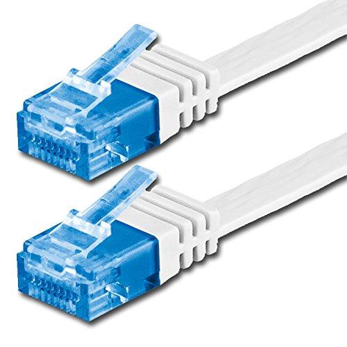 7m - Câble plat CAT6a Ethernet (500 Mhz) blanc - 1 piece (Cat 6a) - transfert de données haut supplémentaire - | 7m | jusqu'à 10000 Mo/s | Câble Réseau RJ45 | ruban | mince | Gigabit | 8P8C ( Or plaqué 3? ) des surfaces de contact | CAT5 CAT6 compatible | Ribbon cable | idéal pour les planchers , stratifié, parquet , bandes frontalières , des plinthes , des tapis