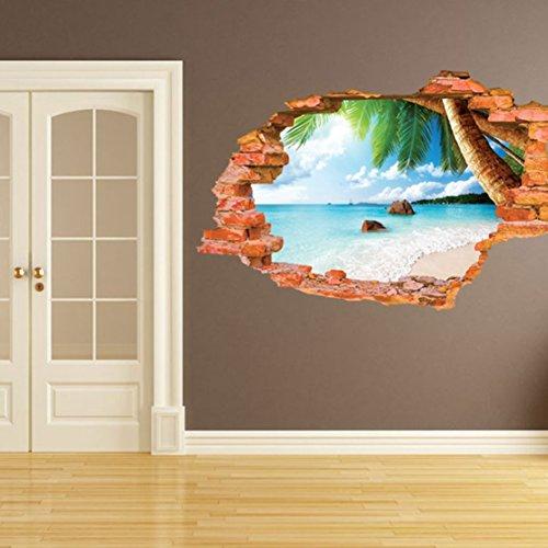AUVS 3D- Selbstklebende Abnehmbaren Durchbrechen Die Mauer Vinyl Wandsticker/Wandgemälde Kunst Aufkleber Dekorateur (Kokosnuss Meeresstrand 8001F (60 x 90cm))
